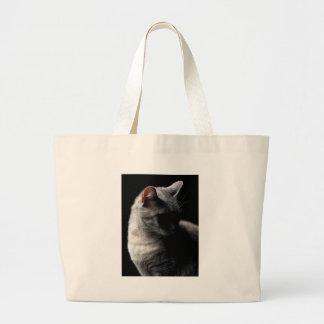 Cat secrecy large tote bag