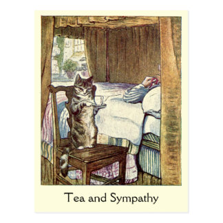 "Cat serves a cup of ""Tea and Sympathy"" Postcards"