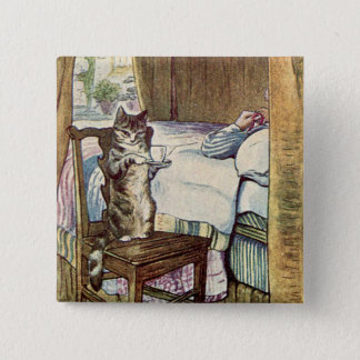 Cat Serves Tea - Beatrix Potter Illustrated Pinback Button