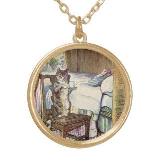 Cat Serving Tea - Beatrix Potter Illustrated Gold Plated Necklace