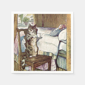 Cat Serving Tea Paper Napkin