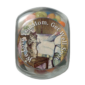 Cat Serving Tea with Love ❝Get Well Soon❞ Jelly Belly Candy Jars