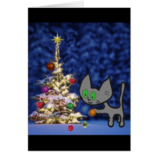 Cat Setting Up A Christmas Tree Card