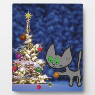 Cat Setting Up A Christmas Tree Plaque