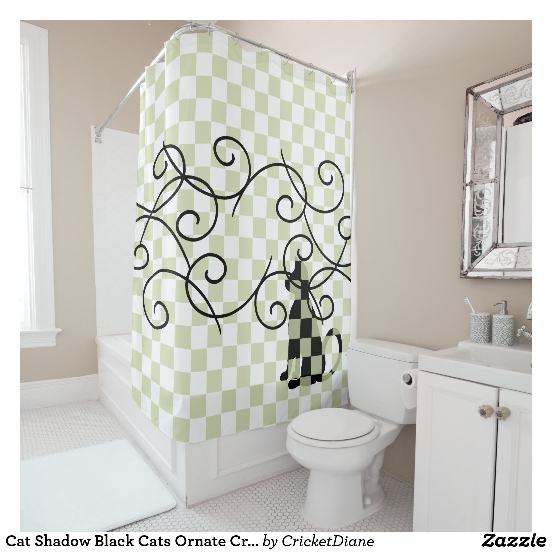 Cat Shadow Black Cats Ornate CricketDiane Shower Curtain