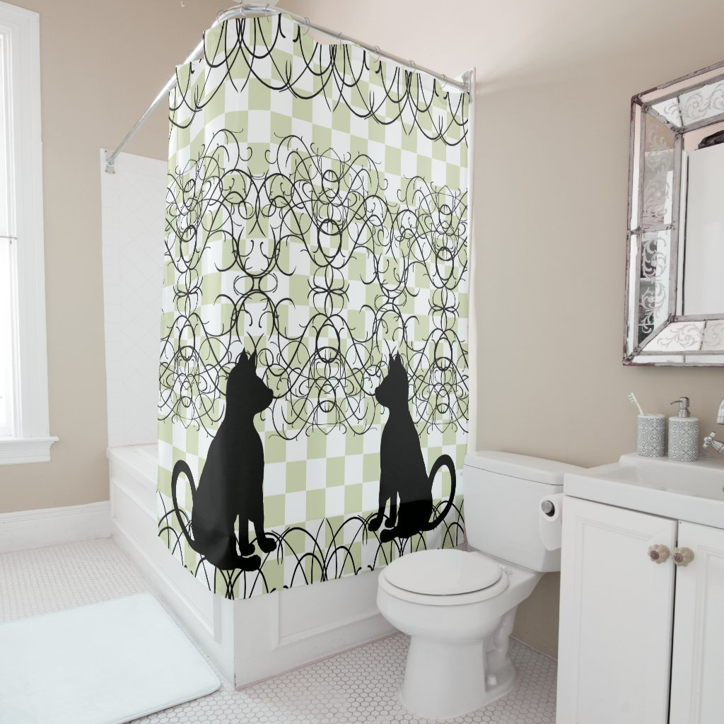 Cat Shadow Black Cats Ornate Flourish CricketDiane Shower Curtain