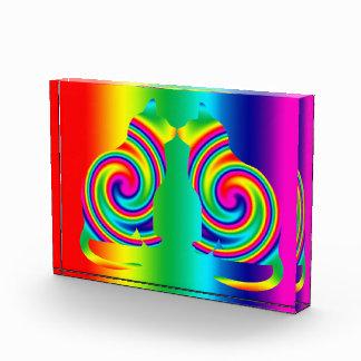 Cat Shaped Rainbow Twirl Acrylic Award