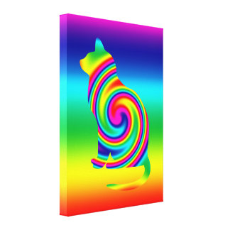 Cat Shaped Rainbow Twirl Canvas Print