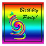 "Cat Shaped Rainbow Twirl 5.25"" Square Invitation Card"