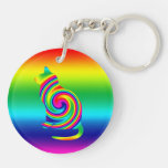 Cat Shaped Rainbow Twirl Double-Sided Round Acrylic Keychain