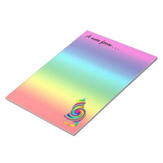 Cat Shaped Rainbow Twirl Notepad