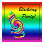 Cat Shaped Rainbow Twirl Personalized Invite