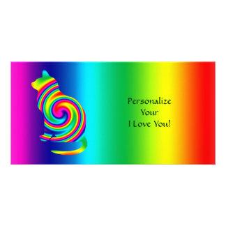 Cat Shaped Rainbow Twirl Photo Greeting Card