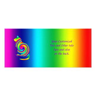 Cat Shaped Rainbow Twirl Custom Rack Cards