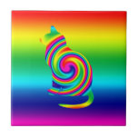 Cat Shaped Rainbow Twirl Small Square Tile