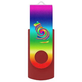 Cat Shaped Rainbow Twirl Swivel USB 2.0 Flash Drive