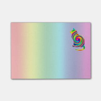 Cat Shaped Rainbow Twirl Post-it® Notes