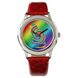 Cat Shaped Rainbow Twirl Wristwatch