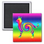 Cat Shaped Rainbow Twist 2 Inch Square Magnet