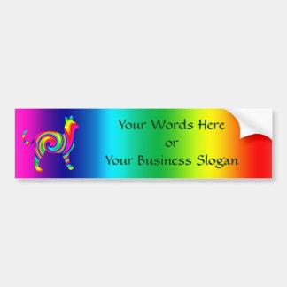 Cat Shaped Rainbow Twist Bumper Sticker