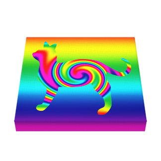 Cat Shaped Rainbow Twist Canvas Print