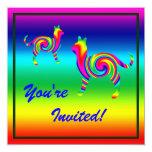 "Cat Shaped Rainbow Twist 5.25"" Square Invitation Card"