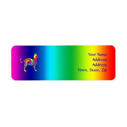 Cat Shaped Rainbow Twist Custom Return Address Label