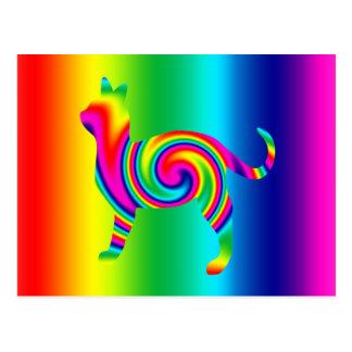 Cat Shaped Rainbow Twist Postcard