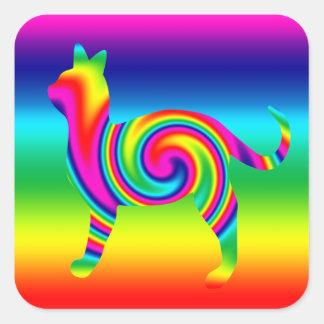 Cat Shaped Rainbow Twist Square Sticker