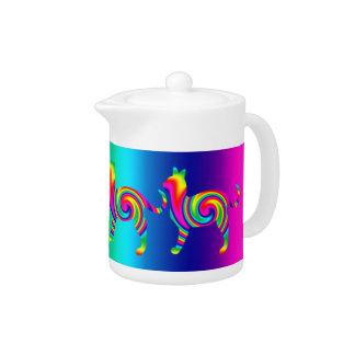 Cat Shaped Rainbow Twist Teapot