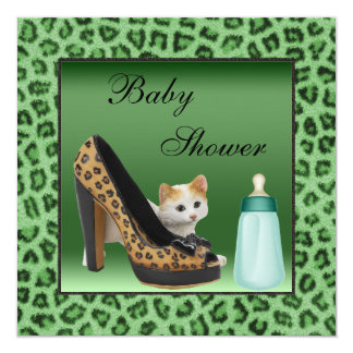 Cat, Shoe & Bottle Green Fur Texture Baby Shower Card