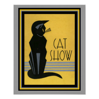 Cat Show- Art Deco- 16 x 20 Poster