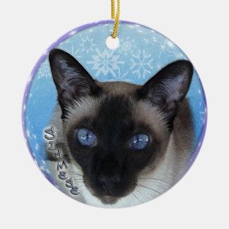 CAT SIAMÉS - Ornamento LLAMATIVO del navidad de Adorno Navideño Redondo De Cerámica