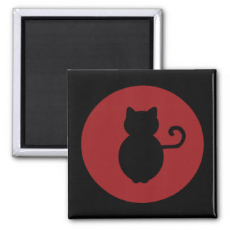 Cat Signal Silhouette 2 Inch Square Magnet