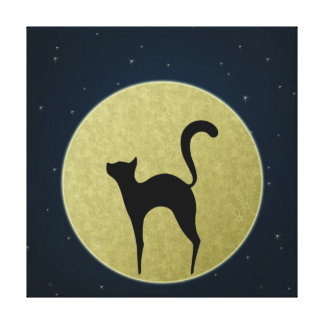 Cat silhouette and moon Wrapped canvas