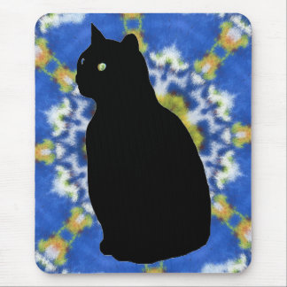 Cat Silhouette and Tie Dye Mousepad