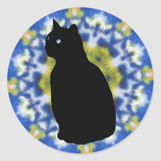 Cat Silhouette and Tie Dye Stickers