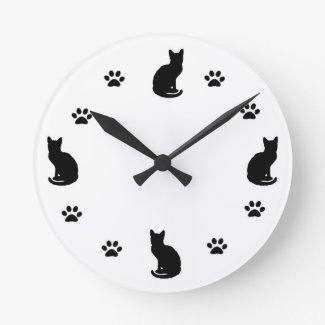 Cat Silhouette Clock