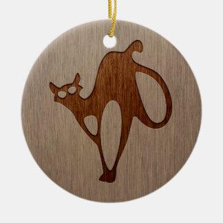 Cat silhouette engraved on wood design ceramic ornament