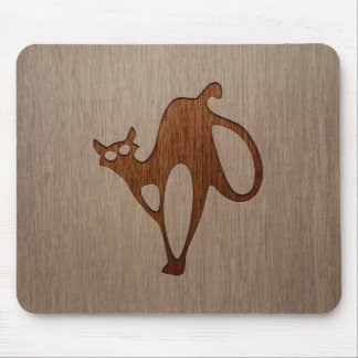 Cat silhouette engraved on wood design mouse pad