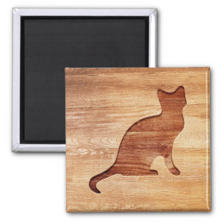 Cat silhouette engraved on wood effect 2 inch square magnet