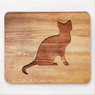 Cat silhouette engraved on wood effect mouse pad