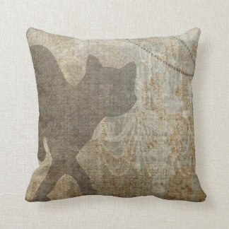 Cat Silhouette French Chic Chandelier Faux Linen Throw Pillow