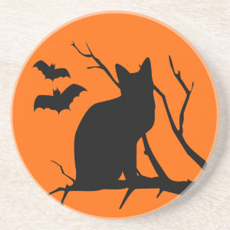 Cat Silhouette Halloween Coaster