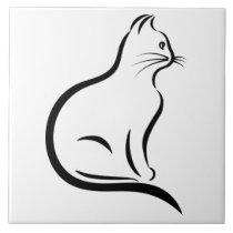 Cat silhouette illustration ceramic tile