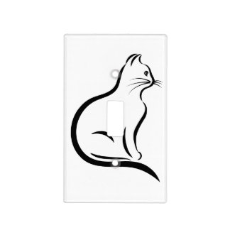 Cat silhouette illustration light switch cover