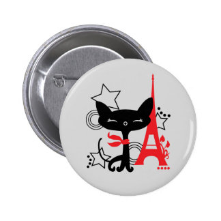 Cat silhouette in France Button