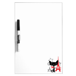 Cat silhouette in France Dry Erase Board