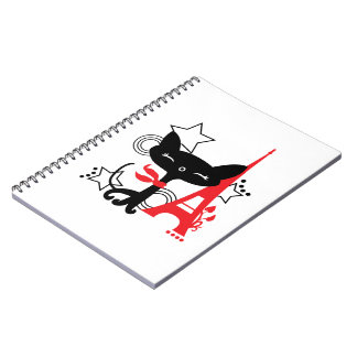 Cat silhouette in France Spiral Note Books
