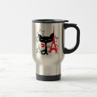 Cat silhouette in France Travel Mug